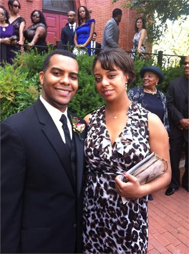 Foreman and his then fiancee Jasmin pose outside of a friend's wedding ceremony.